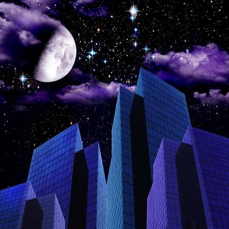 Abstract night cityscape Stock Photo