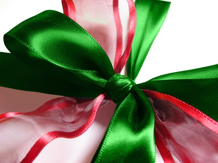 Closeup of red and green silk Christmas bow
