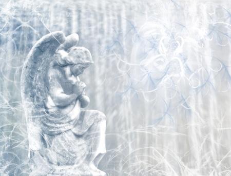 christian angel: Absract imagen de �ngel arrodillado en adoraci�n delante de Dios
