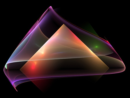 Colorful abstract diamond shaped fractal on black background