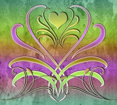 Colorful abstract spring icon with heart and swirls