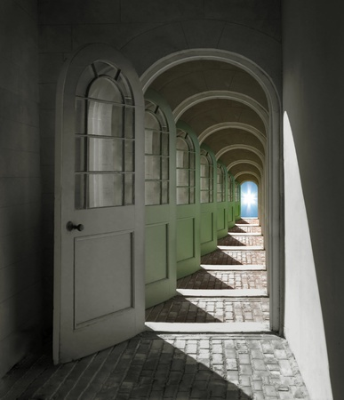 bright future: Arched doorways opening into infinity