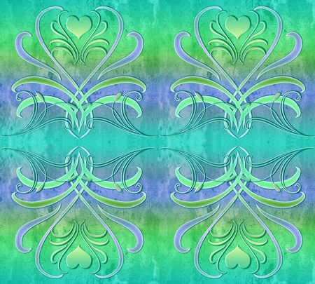 Abstract heart pattern in a four part tile photo