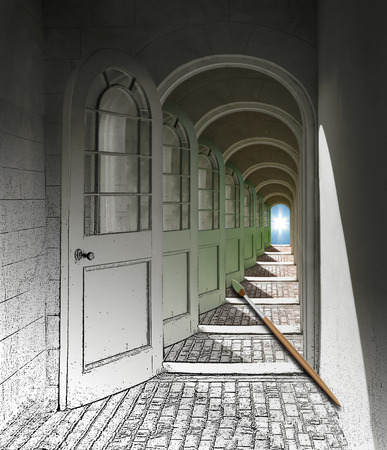 Hallway being painted with many doorways to a blue sky
