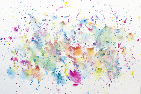 Colorful watercolor background on white with splatter and soft and hard edges