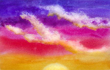 bright paintings: Colorful watercolor sunrise with glowing clouds
