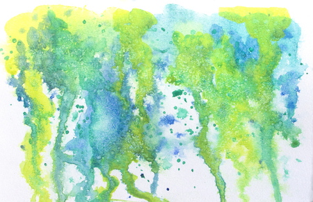 Watercolor abstract with runs, drips and salt effect in bright summer colors. Stock Photo