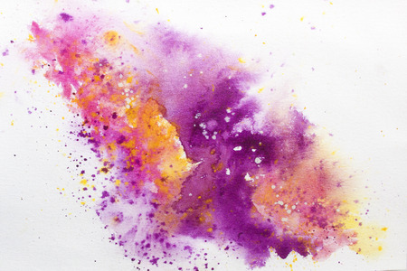 Bright watercolor background with spatters of mauve and orange.