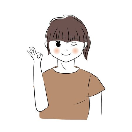 Vector illustration of young woman showing ok hand sign