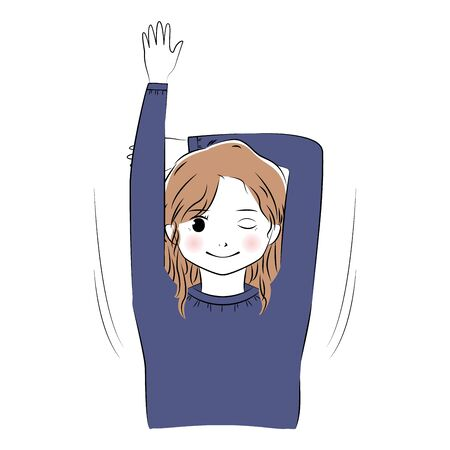Vector illustration of young woman stretching and taking a deep breath 向量圖像
