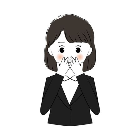 Vector illustration of young business woman surprised and covering mouth 向量圖像