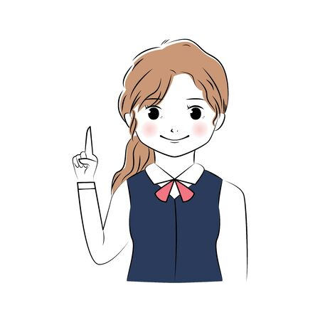 Vector illustration of young business woman pointing upward