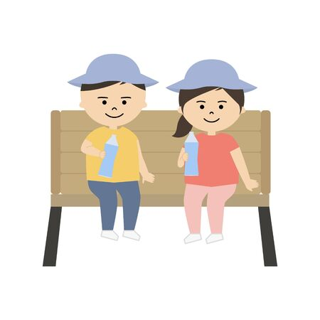 Vector illustration of boy and girl sitting on the bench and drinking water Illustration