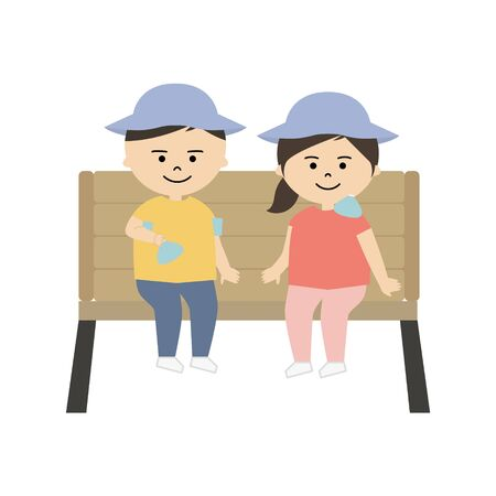 Vector illustration of boy and girl cooling their body with ice pack
