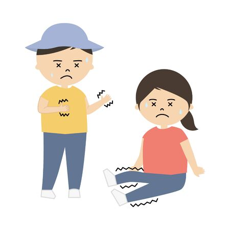 Vector illustration of boy and girl feeling muscle cramps