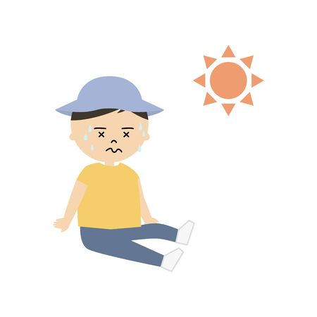 Vector illustration of a boy sitting and sweating profusely