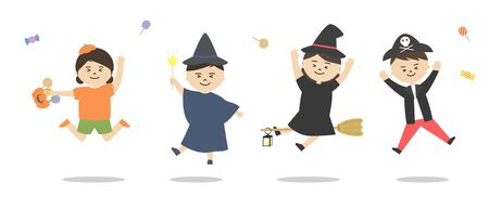 Vector illustration set of children wearing hearing halloween costums. Candy Scattered