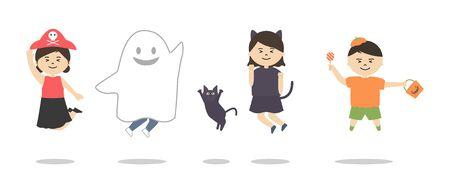 Vector illustration set of children wearing halloween costumes