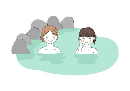 Vector illustration of two young woman relaxing in hot spring