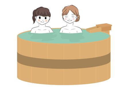 Vector illustration of two young women relaxing in a barrel hot spring bath