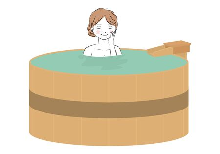 Vector Illustration of Young Woman Walking an Onsen (Hot Spring Bath) 矢量图像