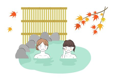Vector illustration of two young woman relaxing in hot spring in autumn