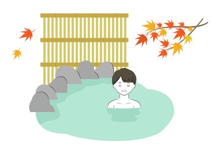 Vector illustration of young man relaxing in hot spring in autumn