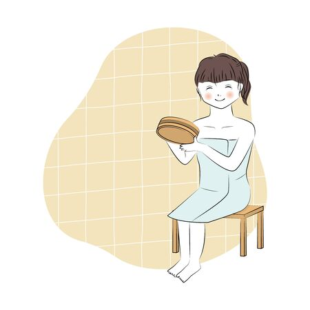 Vector illustration of young woman washing body with japanese wooden bucket