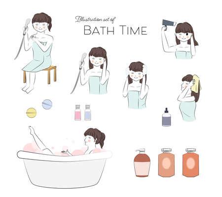 Vector illustration set of young woman enjoying bath time.