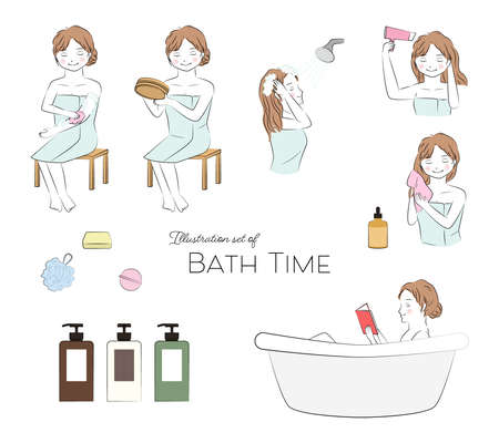 Vector illustration set of young woman enjoying bath time.