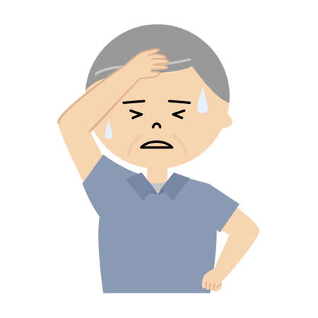 Vector illustration of senior man sweating profusely