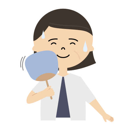 Vector illustration of senior woman using a folding fan to cool off