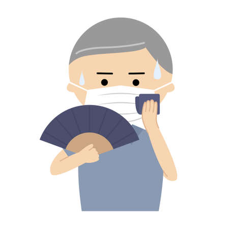 Vector illustration of senior man wearing a mask and using a folding fan to cool off Vecteurs