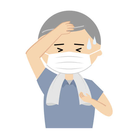 Vector illustration of senior man with a face mask sweating profusely