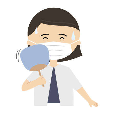 Vector illustration of senior woman wearing a mask and using a folding fan to cool off