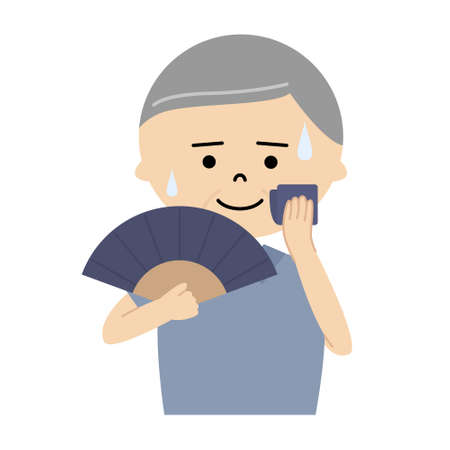 Vector illustration of senior man using a folding fan to cool off