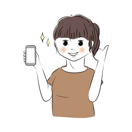Vector illustration of young woman holding smartphone and showing good hand sign Ilustração