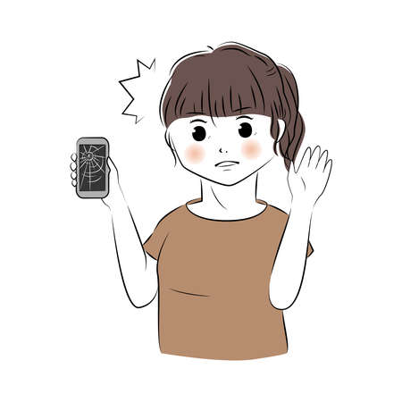 Vector illustration of surprised young woman holding broken smartphone