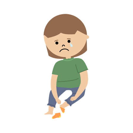 Vector illustration of girl struggling to put on socks and crying Stock Illustratie