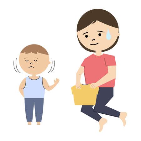 Vector illustration of mother struggling let son get dressed. Boy does not want to get dressed