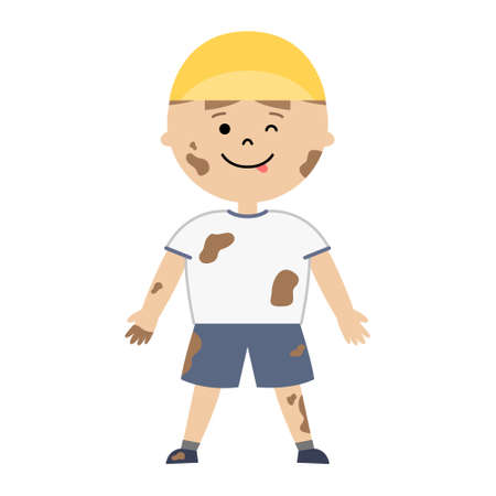 Vector illustration of boy covered with mud