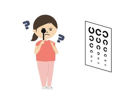 Vector illustration of girl testing visual acuity. She has poor eyesight