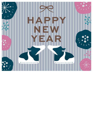 Scandinavian style card template for new year 2021(new year celebration quote in japanese)
