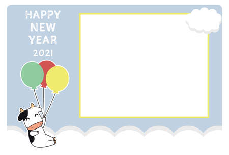 Photo frame card template for new year 2021. Cow character holding balloons.