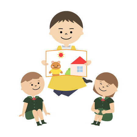 Vector illustration of kindergarten activity. Man reading a picture book and kids listening Ilustración de vector