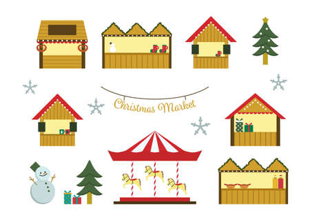 Vector illustration set of christmas market