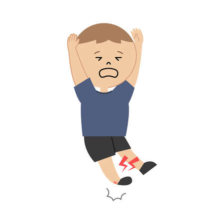 Vector illustration of boy sprained his ankle