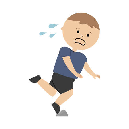 Vector illustration of boy tripped on a stone  イラスト・ベクター素材
