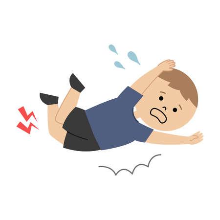 Vector illustration of boy fell down