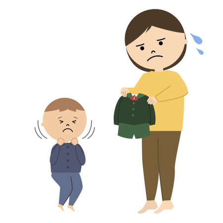 Vector illustration of woman and boy. He does not want to wear school uniform